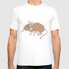 Elephant Shrew White SMALL Mens Fitted Tee