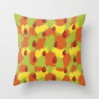 Autumn Leaves And Ladybu… Throw Pillow