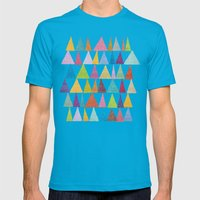 Analogous Shapes In Bloom. Mens Fitted Tee Teal SMALL