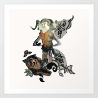 Caprica And Her Dog Art Print