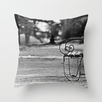 Solitary Park Bench Throw Pillow