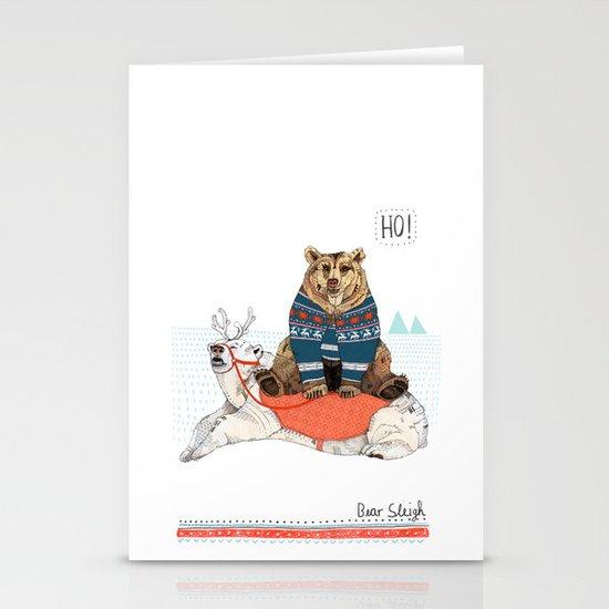 Bear Sleigh Stationery Card