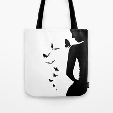 Lady and butterfly Tote Bag