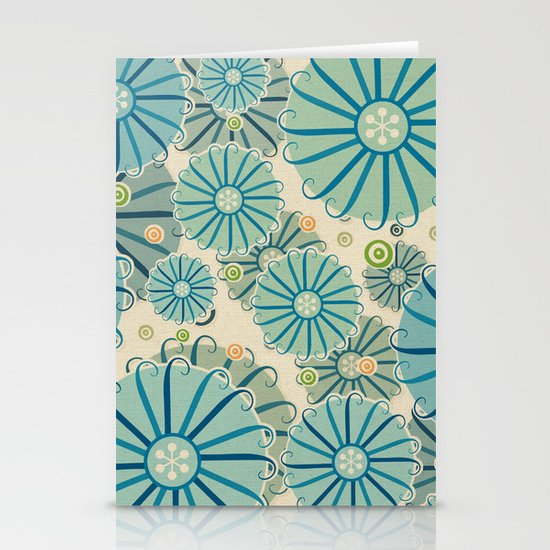 Retro Crazy Flowers Stationery Card