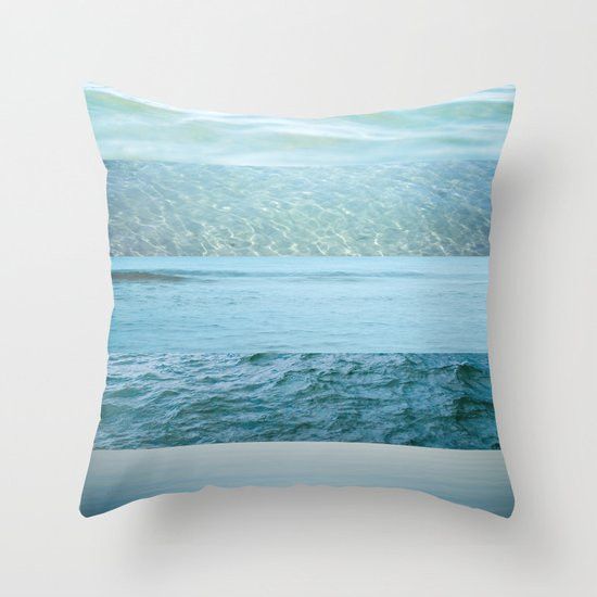 Water Study abstract blue waves Throw Pillow