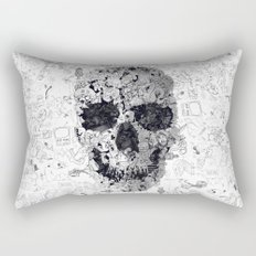 Doodle Skull BW Rectangular Pillow