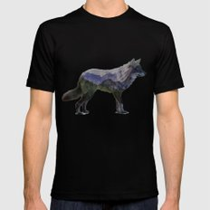 The Rocky Mountain Gray Wolf SMALL Black Mens Fitted Tee