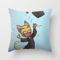 Graduate Cat Throw Pillow