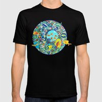 Fish Party Mens Fitted Tee Black SMALL