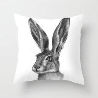 Cute Hare portrait G126 Throw Pillow