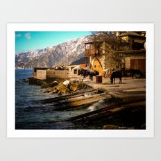 Boat Dock (Arsanas) at St. Anne's Skete, Mount Athos Art Print