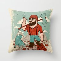 Paul Bunyan & Babe Throw Pillow