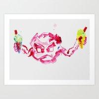 Geodude with ice cream Art Print