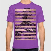 Trendy tropical palm trees chic rose gold stripes Mens Fitted Tee Ultraviolet SMALL