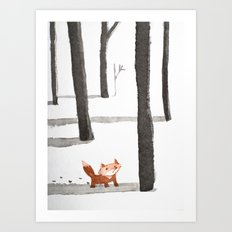 Le Renard dans la neige Art Print
