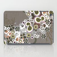 Diagonal flower – brown and olive green fiber iPad Case