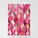 Wild Pink & Pretty Diamond Patchwork Pattern Stationery Cards