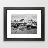Tenby Harbour Boats.Pembrokeshire.B+W. Framed Art Print