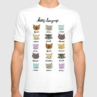 Kitty Language Mens Fitted Tee White SMALL
