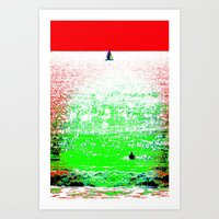 Sailboat And Swimmer (2a… Art Print