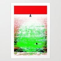 Sailboat and Swimmer (2a) Art Print