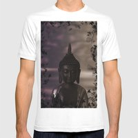 Flower Buddha Mens Fitted Tee White SMALL