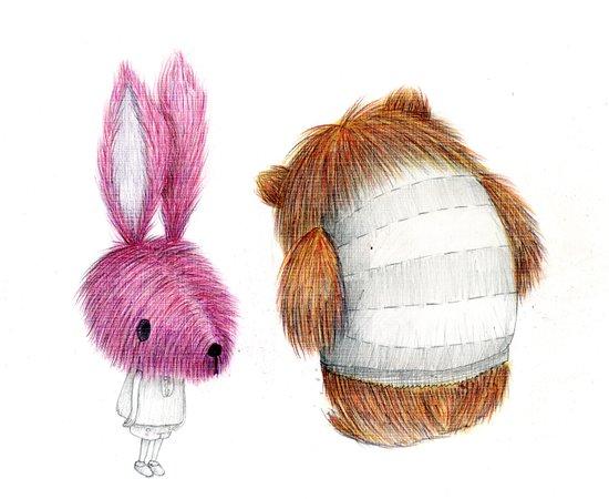 El conejo y el oso Art Print