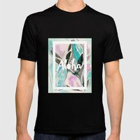 You Had Me at Aloha Floral Mens Fitted Tee Black SMALL
