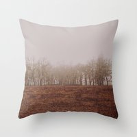 Foggy Trail to the Trees Throw Pillow