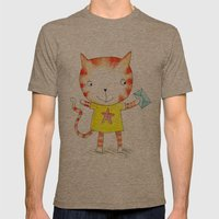 Ginger kitten watercolour Mens Fitted Tee Tri-Coffee SMALL