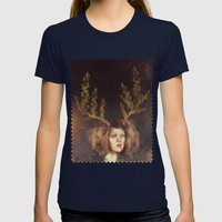 The Golden Antlers Womens Fitted Tee Navy SMALL