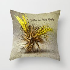 Yellow Fan Wing Mayfly Throw Pillow