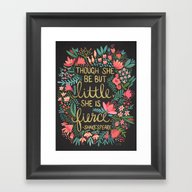 Little & Fierce On Charc… Framed Art Print