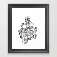 Skull Boy  on a Tricycle  Framed Art Print