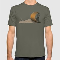 snail brown Mens Fitted Tee Lieutenant SMALL