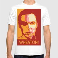 WHEATON! Mens Fitted Tee White SMALL