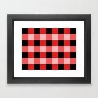 Red squares Framed Art Print