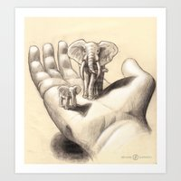 Pocket Elephants Art Print
