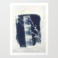 Cyanotype Collage Art Print