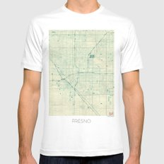 Fresno Map Blue Vintage Mens Fitted Tee SMALL White