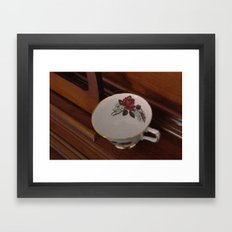 Rose Teacup Framed Art Print
