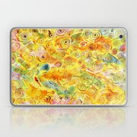 Abstract Background with Spirals on Yellow Green Pink Laptop & iPad Skin