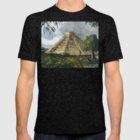 Mayan Pyramid Mens Fitted Tee Tri-Black SMALL