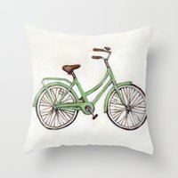 Bicycle / Green Cruiser Throw Pillow
