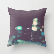 Nightowl. downtown Los Angeles skyline at night photograph. Throw Pillow