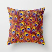 Peacock Feathers Colorful Pattern  Throw Pillow