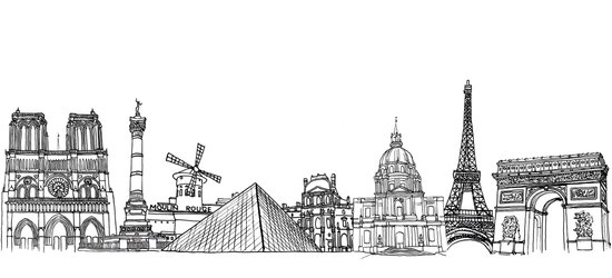 Paris Landmarks by the Downtown Doodler Art Print