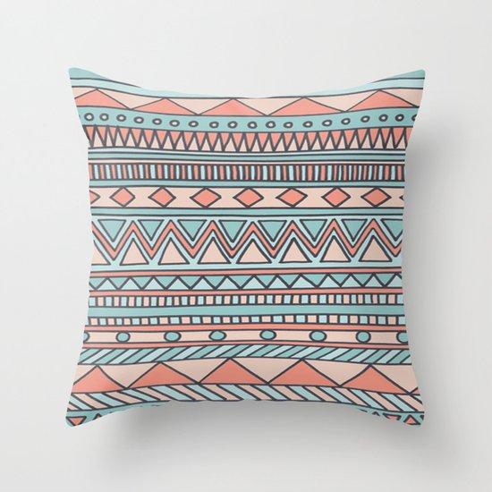 Tribal #4 (Coral/Aqua) Throw Pillow