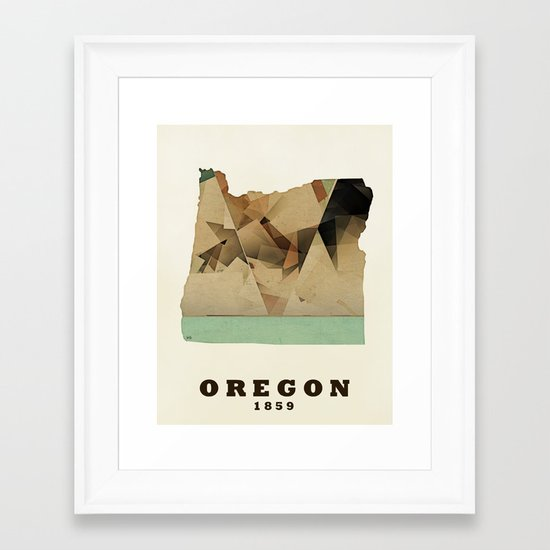 Oregon state map modern Framed Art Print