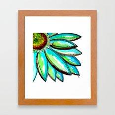 Gerber Daisy Watercolor in Aqua and Green Framed Art Print